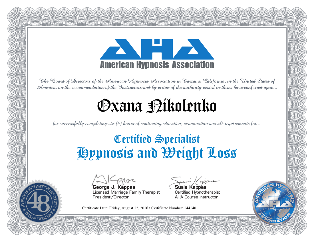 certificate - Hypnosis and Weight Loss